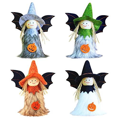 Fiesta de Halloween Decoración,4 Piezas Adorno Colgante de Halloween Decoración Muñeca de Halloween Bruja Decoración de Calabaza de Bruja Colgante de Halloween para Patio Jardín Césped