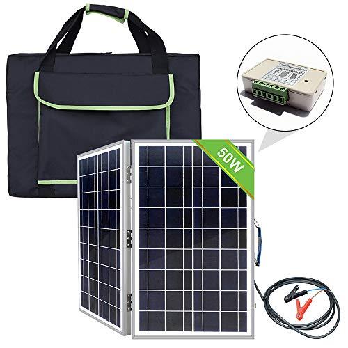 ECO-WORTHY Tragbares Solarpanel-Set mit Handtasche, 12 V, 40 W, tragbar, faltbar, Polykristallin, Solarmodul, Akku-Ladegerät