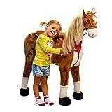 Pink Papaya Plüschpferd XXL 105cm - das riesige Pferd zum Reiten, Stehpferd XXL, bis 100kg, Spiel-Pferd zum Draufsitzen inkl. Kleiner Bürste, Fellfarbe - braun / Mähne - blond