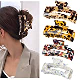 SWSTINLING 4 Pieces Hair Claw Clips, Long Size Acrylic Celluloid French design Jaw Clips, Leopord Print Tortoise Shell Grip Pin Teeth Clamp Strong Hold For Thick Hair Accessories for Women Girls