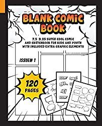 Image: Blank Comic Book: 7.5 X 9.25, Super Cool Comic and Sketchbook for Kids and Youth with included extra graphic elements, by Super Cool Comic Books For Kids (Author), Blaster Master (Designer). Publisher: CreateSpace Independent Publishing Platform; 1 edition (July 21, 2018)