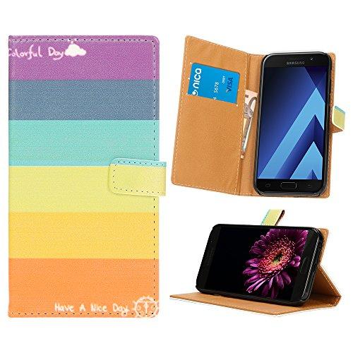 NALIA Custodia a Libro compatibile con Samsung Galaxy A3 2017, Cover Portafoglio Sottile Wallet Case Protettiva Ecopelle Vegan Protezione Telefono Cellulare Bumper, Designs:Colorful Stripes
