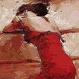 Pintar por Numeros para Adultos Niños Mujer Hermosa En Rojo DIY pintura al óleo Lienzo por...