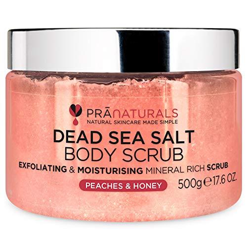 PraNaturals Dead Sea Salt with Peach & Honey Body Scrub 500G – Hydrating & Moisturising, With natural oils & minerals, Softening & nourishing, Sweet fruity fragrance, No Parabens, Vegan & Cruelty Free