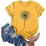 WUAI-Women Dandelion Graphic T-Shirts Summer Short Sleeve Wildflower Make a Wish Funny Cute Tops Blouse(Yellow,X-Large)