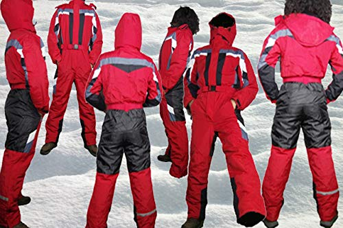 Moderei Auswahl an Schneeanzug | Schneeoverall Skianzug | Skioverall Snowboard Unisex | Jungen | Mädchen | Herren | Damen Schneeanzug (Blau, Rot, Orange, Schwarz 146-170) … (Rot, 158)