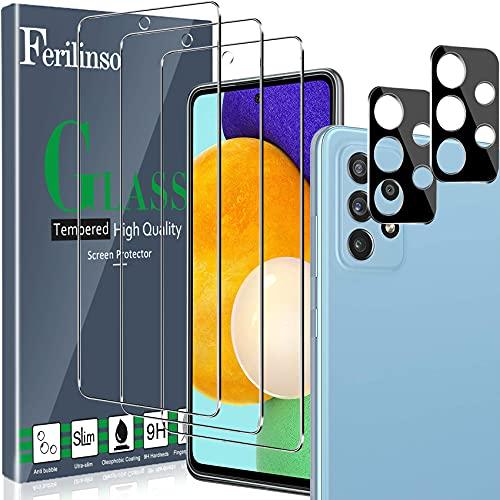 Ferilinso [5 Pack] 3 Piezas Protector de Pantalla para Samsung Galaxy A52 4G&5G Cristal Templado + 2 Piezas Protector cámara Protector de Lente de Cámara [9H Dureza] [Compatible con la Funda]
