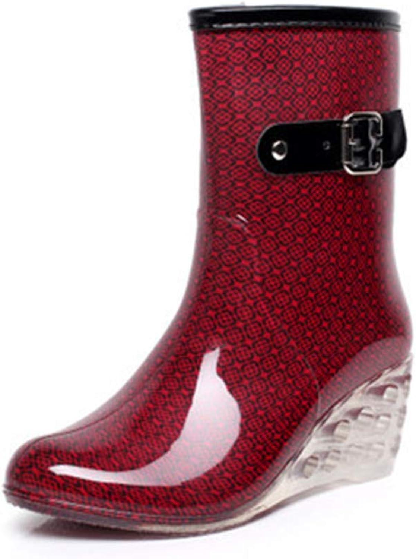 Slope Heel Water shoes Women's Rainboots Fashion Buckle Side Zipper High-Heel Transparent Rainshoe in Tube Rubber shoes
