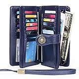 Sendefn RIFD Bloking Genuine Leather Short Small Wallets Purses for Women Men Retro