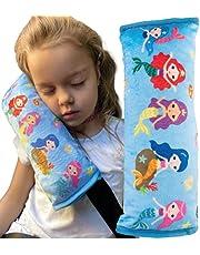 HECKBO® samochodowa poduszka do spania dla dzieci z motywem syrenki - można prać w pralce - przytulnie miękka - wysokiej jakości samochodowa poduszka na pasy bezpieczeństwa, pokrowiec na pasy bezpieczeństwa, poduszka na pasy bezpieczeństwa, ochraniacz na pasy bezpieczeństwa, poduszka do samochodu, poduszka podróżna, wakacje - 30x 12cm
