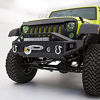 "Restyling Factory 07-17 Jeep Wrangler JK Black Textured Rock Crawler Stubby Front Bumper with OE Fog Light Hole, Built-In 21"" ~ 22"" LED Light bar mount, & 2x LED Side Mount, Winch Mount Plate"