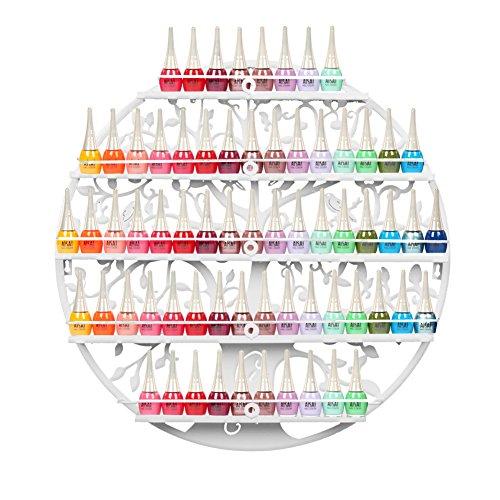 FullBerg 5-Tier Metall Nagellackregal Wandregal Nagellack Organizer Aromatherapie und ätherischen Ölen Regal Lippenstiftständer Display Rack Aufbewahrung Damen- Weiß