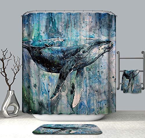 Cheerhunting Ocean Theme Shower Curtain, Humpback Whale Under Sea, Bathroom Accessories with Hooks, 72' W x 72' H Waterproof Fabric Bathroom Decor, Blue