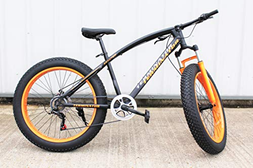 JHI Fat Bike Terminator Black With Orange Extreme 26' X 4' wheels Bicycle with 7 Shimano Gears