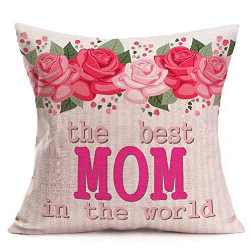 """Xihomeli Cotton Linen 18x18 Inch Throw Pillow Covers The Best Mom in The World Inspirational Quote Happy Mother's Day Cushion Case Watercolor Rose Flower Leaves Mom Birthday Gift (Best Mom, 18""""x18"""")"""