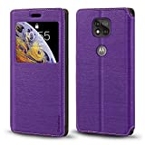 Motorola Moto G Power 2021 Case, Wood Grain Leather Case with Card Holder and Window, Magnetic Flip Cover for Motorola Moto G Power 2021