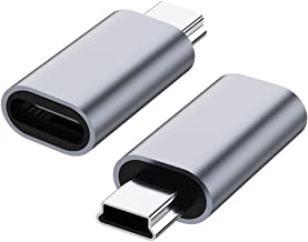 USB C to Mini USB 2.0 Adapter, (2-Pack)Type C Female to Mini USB 2.0 Male Convert Connector Support Charge & Data Sync Com...