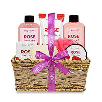 Bath Spa Gifts for Women, Body & Earth Bath Spa Basket Luxurious 7 Piece Bath Body Set with Rose Scented-Shower Gel, Body Lotion, Body Scrub, Bubble Bath, Bath Salts, Sponges, Best Gift for Her