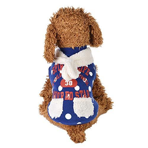 Dayyly Weihnachtliches Hundekostüm, Plüsch, Haustierkostüm, Welpen, gepunktetes Hemd, Kapuzenpullover, Kleidung für Teddy, Yorkshire Terrier, Chihuahua