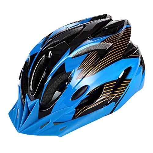 fuchsiaan Fahrradhelm & Ski Helm fur Herren Damen, Erwachsene Atmungsaktiv Leichte Fahrrad Schutzhelm Cap mit Rücklicht, Mountain Road Bike Trekking City Rennradhelme Blue Black