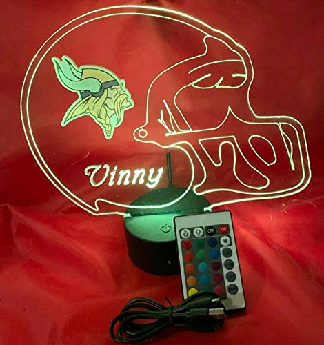 NFL Light Up LED Lamp Personalized Handmade Football Helmet Night Light with Free Personalization and Remote, 16 Color Options, and Variations! (Minnesota Vikings)