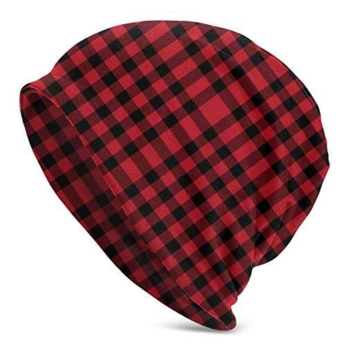 Buffalo Plaid Black and Red Beanie Men Women Unisex Soft Cuffed Plain Skull Knit Hat Cap Daily Knit Beanie