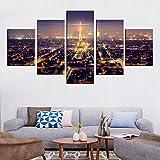 183Tdfc Paris Tower City Noche 5 Piezas Cuadros Lienzo Decoracion Salon Modernos De Pared Lienzos Colgando Papel Pintado Murales Pintura Fotos Regalo 150Cmx80Cm(con Marco