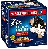 Felix Katzennassfutter So gut wie es aussieht in Gelee Geschmacksvielfalt vom Land, 4er Pack (4 x 24 x 85g) Portionsbeutel
