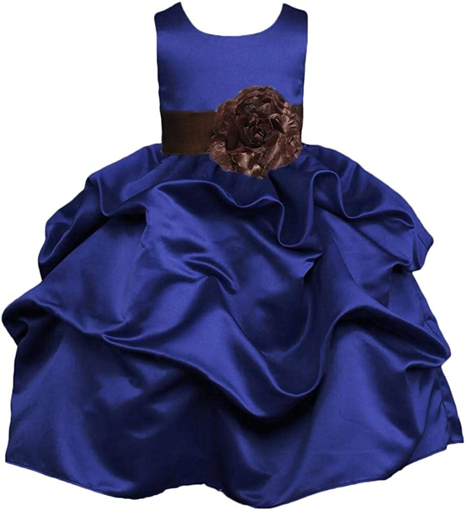 Pink Promise Navy Flower Girl Wedding Christmas Holiday Pick Up Dress with Bow
