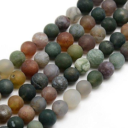 36 Indische Achat Perlen 6mm Matt Grün Rund Edelsteine Halbedelstein Edelstein Achat Stein Schmuck Kette Armband Agate Gemstone Beads G733 x2