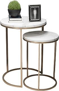 Table d'appoint Table de Chevet Bout de canapé Table basse 2 Jeu de ronde marbre Table d'appoint moderne Fer Canapé d'angl...