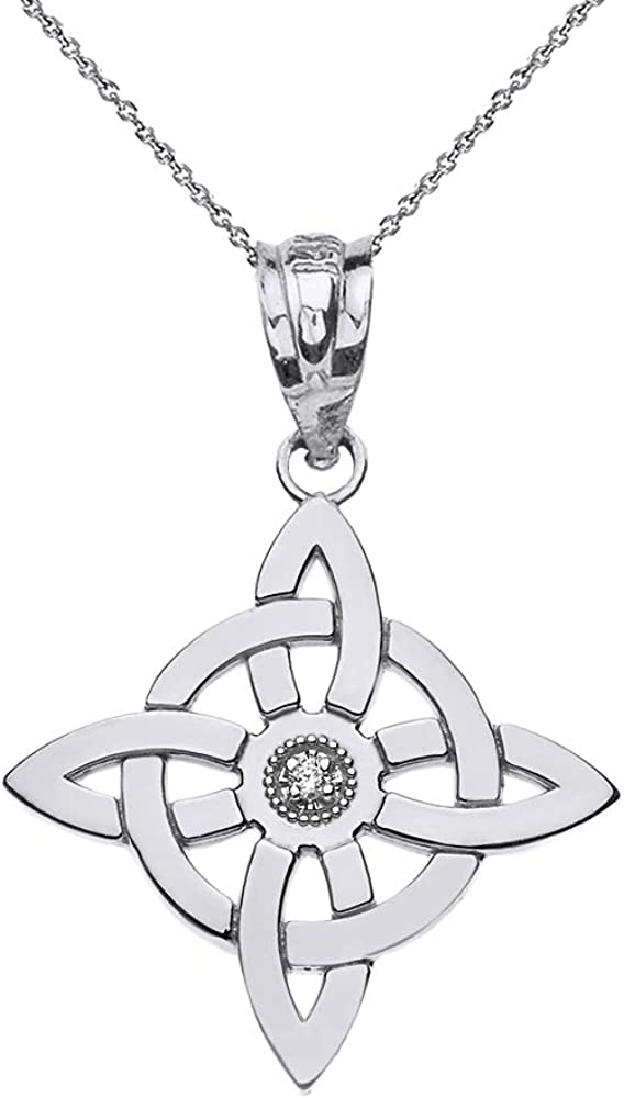 Sterling Silver Long-awaited Witch's Knot Long-awaited Pagan CZ Pendant Symbol Wiccan Neck