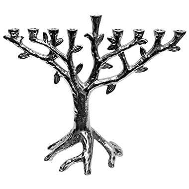 Majestic Giftware MN11759 10  Metal Aluminum Menorah Tree Design with Nickel Plated Finish Candelabra