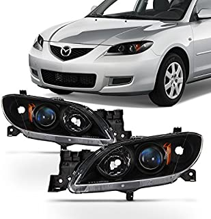 For Black 2004 2005 2006 2007 2008 2009 Mazda 3 Sedan Left+Right Side Halogen Headlights Headlamps Set