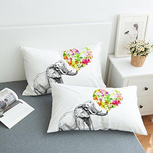 Koongso - Funda de Almohada con Cierre de Cremallera, diseño de Flores y Animales