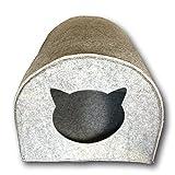 SUPMO, cuccia per gatto in feltro con apertura a forma di testa di gatto. Il rifugio per il vostro gatto. Dimensioni apertura: circa40 x 40 cm (altezza x larghezza) grigio Grau
