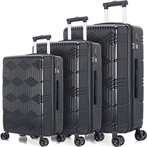 "Merax Luggage Sets 3 Pcs Spinner Suitcase ABS+PC Hardshell Lightweight 20""24""28"" (3 Pcs Set-Black)"