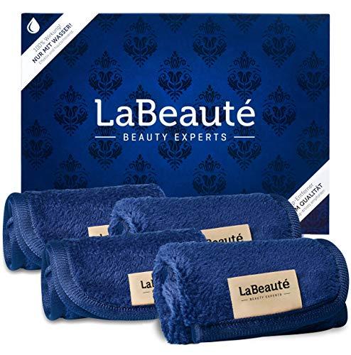 LaBeauté Abschminktücher Mikrofaser (4 Stück), waschbar und wiederverwendbar, Gesichtsreinigungstücher, Make Up Entferner Tuch (21x21 cm, Navy-Dunkelblau)