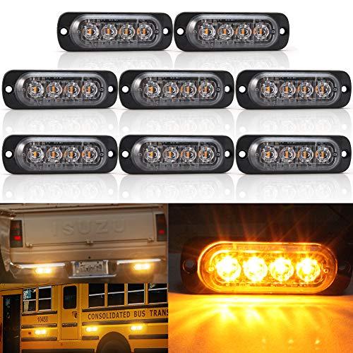 Biqing 8PCS Luces Estroboscopicas,4LEDs Luces Estroboscópicas de Ámbar Luz de Emergencia Luces de Advertencia 12V/24V Parachoques Parrilla Cola Cola Luz de trabajo para Camión Remolque Caravana
