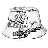 Sombrero Pescador Unisex,Rama de Olivo Paloma Blanca,Plegable Sombrero de Pesca Aire Libre Sombrero Bucket Hat para Excursionismo Cámping De Viaje Pescar
