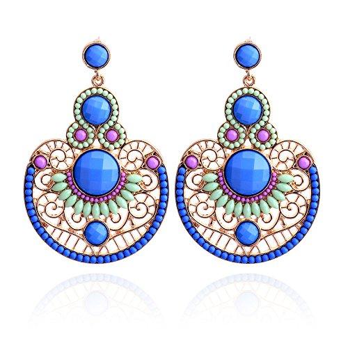 Lureme gioielli in perline modo scava fuori il disegno con il cristallo ciondolo tondo orecchini pendenti (02003358)