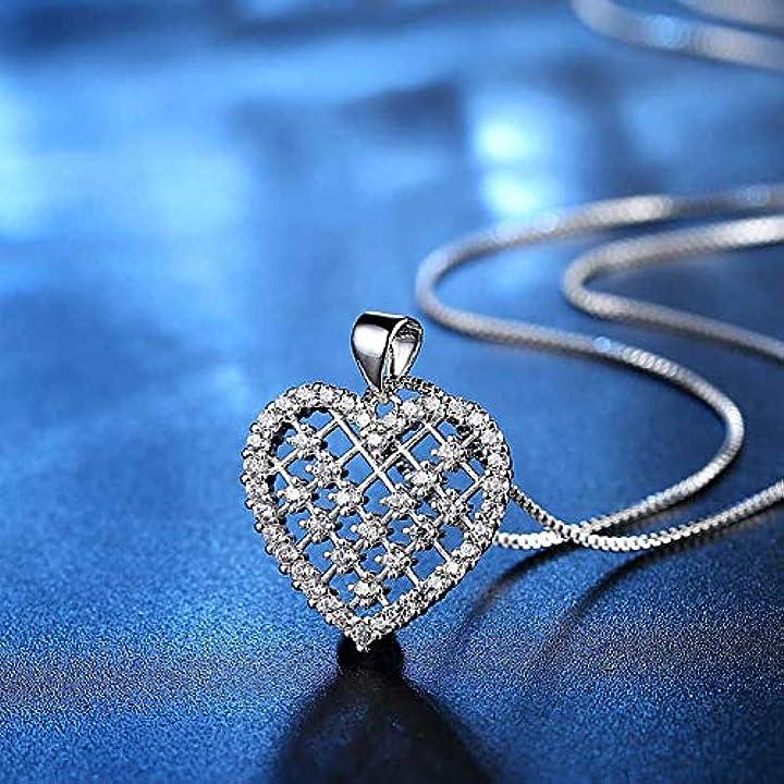 San valentino - collana con pendente in cristallo badminton a forma di cuore oro rosa colore argento 6966358864609