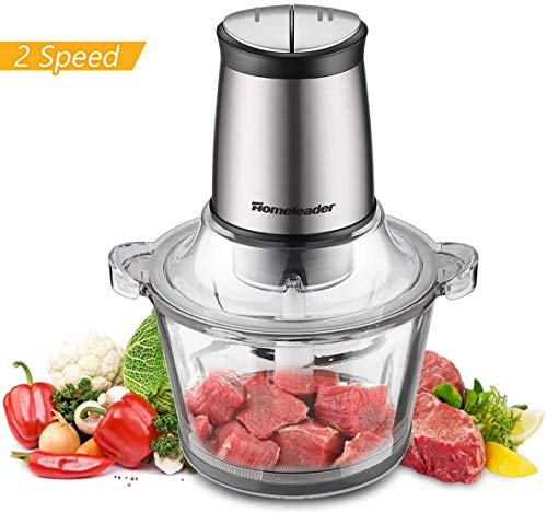 Electric Food Chopper, 8-Cup Food Processor by Homeleader, 2L BPA-Free Glass Bowl Blender Grinder for Meat, Vegetables, Fruits and Nuts, Fast \& Slow 2-Speed, 4 Sharp Blades