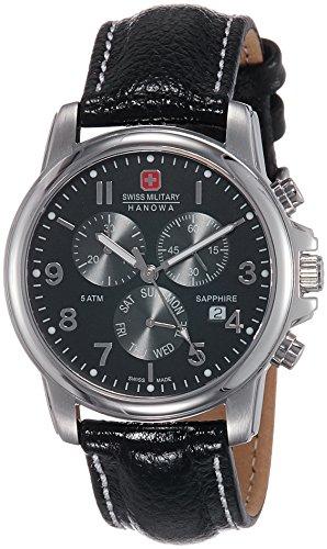 Swiss Military Swiss Soldier Chrono Prime–Orologio da uomo al quarzo con quadrante nero, cronografo e cinturino in pelle nera, rif. 6-4233.04.007