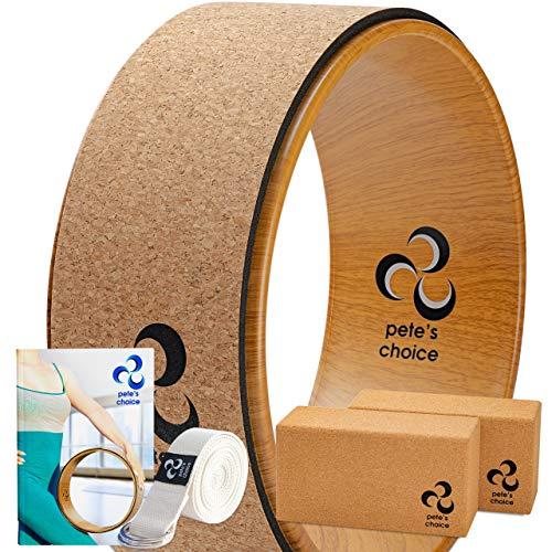 Yoga Rad Holz und Yoga Blocks aus Kork mit Zusätzlichem eBook und Yoga Gurt. Extra Feste, Massive Yoga-Blöcke, Bessere Unterstützung, Natürliches und Umweltfreundliches Fitness Zubehör