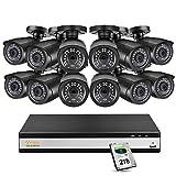 Anlapus 1080P Sistema de Cámaras Vigilancia 16CH Full HD Grabador DVR con 12pcs Cámara de Seguridad 2TB Disco Duro, Alerta por Email/App