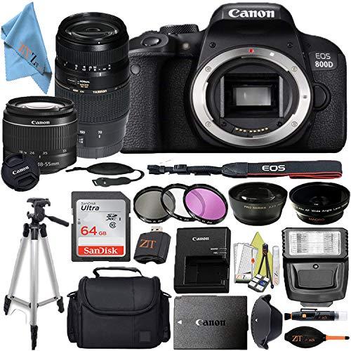 Canon EOS 800D / Rebel T7i DSLR Camera with 24.2MP Sensor, EF-S 18-55mm & Tamron AF 70-300mm Lens Kit, SanDisk 64GB Memory Cards, Bag, Tripod, Flash + ZeeTech Accessory Bundle