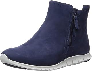 Cole Haan Women's Zerogrand Side Zip Bootie Waterproof Ankle Boot, Marine Blue Nubuck, 6.5 B US