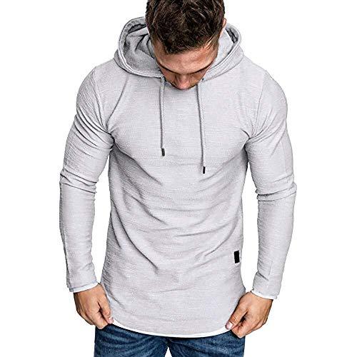 Mens Hoodies kleding te koop Herfst Solid lange mouwen Loose Hoody Top Blouse Trainingspakken (Color : White, Size : XXL)