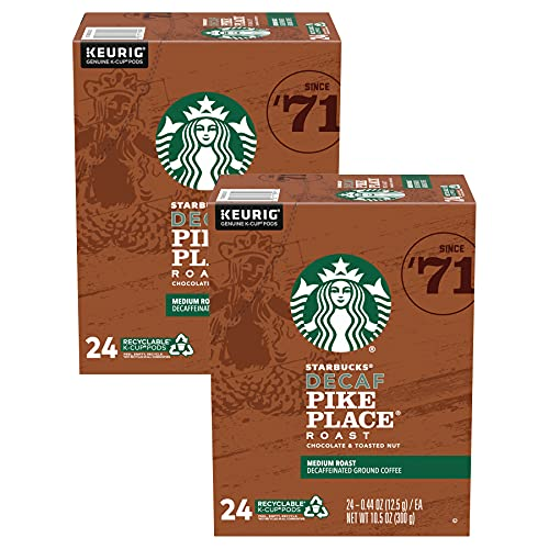 Starbucks Decaf Pike Place Medium Roast Decaffeinated Coffee K-Cup Pods 24 ct Box, Pack of 2 (48 Pods Total)